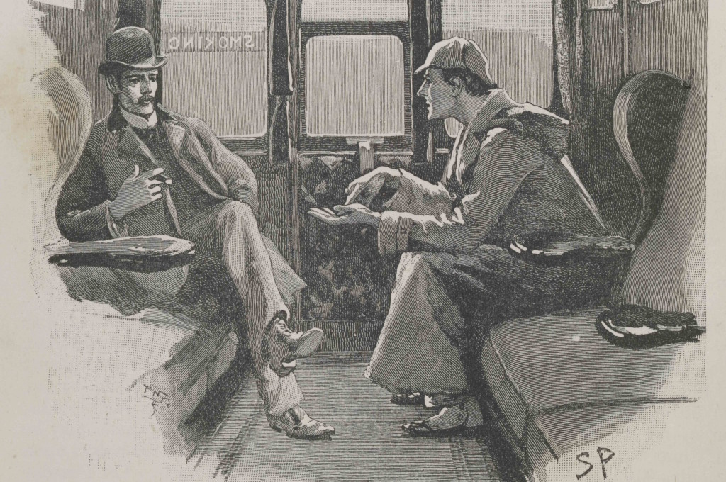 """Strand magazine Vol iv.1892. Page page 646. illustration The Adventure of the Silver Blaze- """"Holmes gave me a sketch of the events"""" Alex Werner Private Collection."""
