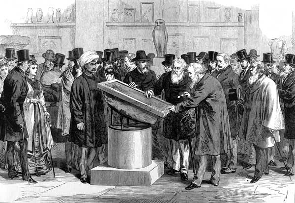 Experts pore over the Rosetta Stone at the Second International Congress of Orientalists, 1874. Murmur, murmur, murmur...